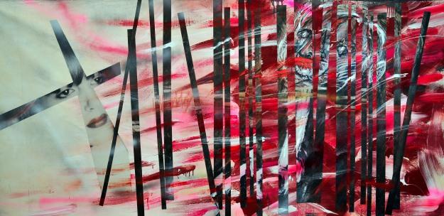 Aimee Joaristi, Modelo & Castrado, mixta, 230 x 110 cm. 2013.