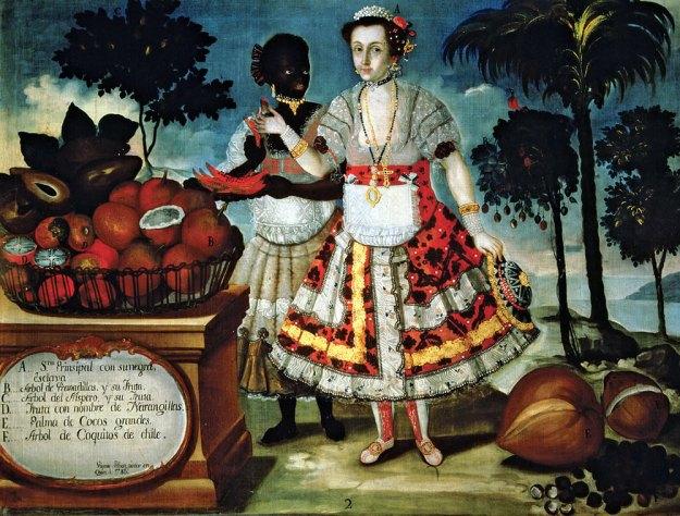 Mujer española con su esclava. Pintura del siglo XVIII.
